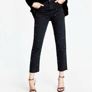 NWT ZARA Black Pearls Tulle Vintage Hi Rise Jeans